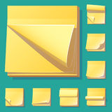 Yellow office sticky memory notes vector illustration sticker paper adhesive information memo blank. Business office notice reminder notepaper sheet. Memory Stock Images