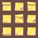 Yellow office sticky memory notes vector illustration sticker paper adhesive information memo blank. Royalty Free Stock Photography
