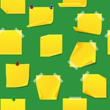 Yellow office sticky memory notes vector illustration sticker paper seamless pattern Royalty Free Stock Image