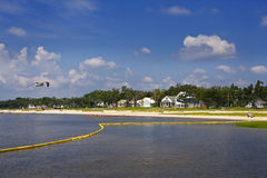Yellow Oil Boom & Bay, Gulf Coast Stock Photo