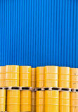 Yellow oil drums Stock Images