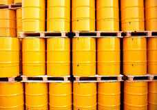 Yellow oil drums Royalty Free Stock Images