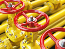 Yellow oil or gas pipe line valves. 3d Stock Photography