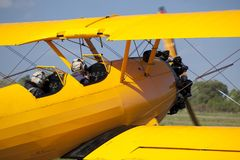 Yellow old aeroplane Royalty Free Stock Images