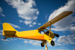 Yellow old airplane Royalty Free Stock Image