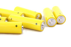 Yellow old batteries Royalty Free Stock Photos