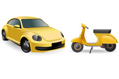 Yellow old car and scooter Stock Photography