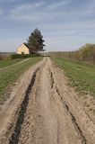 Yellow old country house and country ground road Stock Images