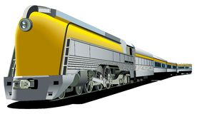 Yellow old-fashioned train Royalty Free Stock Image
