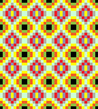 Yellow old fashioned vintage ornament pattern. Old fashioned square ornament with dominant yellow color. Colorful geometric seamless pattern vector illustration Royalty Free Stock Image