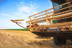 An yellow old harvester Stock Photo