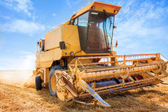 An yellow old harvester in work Royalty Free Stock Photo