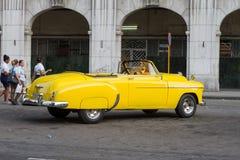 Yellow old Havana car Royalty Free Stock Image