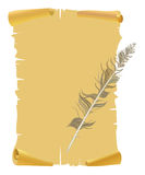 Yellow old paper with feather. Background and texture  decorative paper with feather Stock Photo