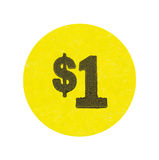 Yellow one dollar garage sale sticker. A bright yellow generic one dollar garage sale sticker isolated on a white background Royalty Free Stock Photos