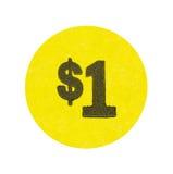 Yellow one dollar garage sale sticker Royalty Free Stock Photos