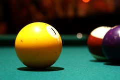 Yellow one, pool billard ball Stock Images