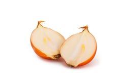 Yellow onion. Two halves of yellow onion  on white background Stock Image