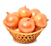 Yellow onion in the basket Royalty Free Stock Images