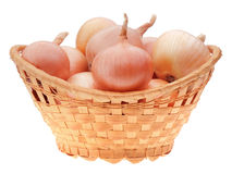 Yellow onion bulbs in basket Royalty Free Stock Images