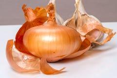 Yellow onion and garlic stock photos