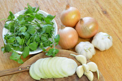 Yellow onion, garlic and cilantro. Group of yellow onion, garlic and cilantro Stock Image