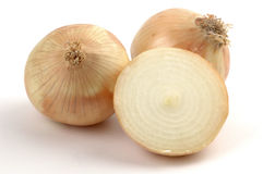 Yellow Onions. Close-up on a white background Royalty Free Stock Photography