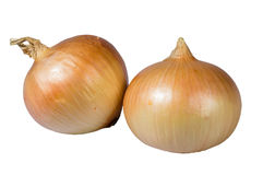Yellow onions isolated on white Stock Image