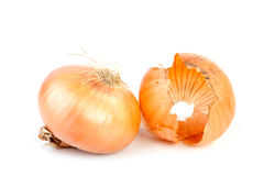 Yellow onions with a peel isolated Stock Photography