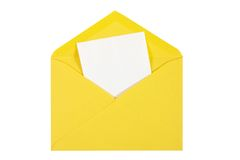 Yellow  open envelope with paper Isolated Stock Image