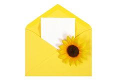 Yellow open envelope with paper Isolated Royalty Free Stock Photography