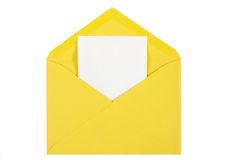 Yellow  open envelope with paper Isolated Stock Photography
