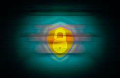 Yellow open lock and a shield merged on seamless abstract background. With vignette effects Stock Image