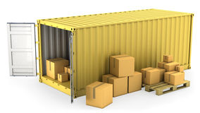 Yellow opened container with a lot of carton boxes Royalty Free Stock Image