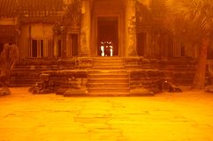 Yellow opening. The golden gateway or front door to Angkor wat siem reap cambodia Royalty Free Stock Images