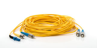 Yellow optic cable  Royalty Free Stock Photography