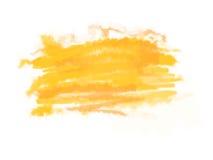 Yellow-orange κτυπήματα βουρτσών watercolor με το διάστημα για το κείμενό σας Απεικόνιση, που απομονώνεται διανυσματική στο λευκό Στοκ Εικόνα
