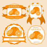 The yellow orange. Abstract vector illustration logo for whole ripe fruit yellow orange with green stem leaf cut sliced.Orange drawing consisting of tag label Stock Images