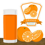 The yellow orange. Abstract vector illustration logo for whole ripe fruit yellow orange with green stem leaf cut sliced.Orange drawing consisting of tag label Stock Photo