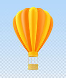 Yellow and orange air ballon with basket Stock Images
