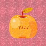 Yellow orange apple fruit with text fall vector illustration