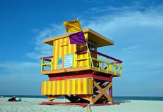 Yellow and Orange Art Deco Lifeguard Tower Royalty Free Stock Images