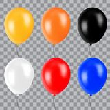 Yellow, orange, black, white, red and blue realistic balloon. Decoration Element for party or celebrations. 3d Vector illustration Royalty Free Stock Photo