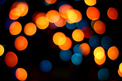 Yellow, Orange and Blue Spots Bokeh Stock Photo