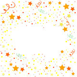 Yellow and orange Confetti. Vector Festive Illustration of Falling Shiny Confetti Glitters Isolated on White Background. Holiday Decorative Tinsel Element for Stock Image
