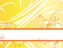 Yellow orange floral banner ba. Yellow gradient background with lower floral banner vector illustration