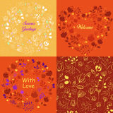 Yellow and orange floral patterns set Royalty Free Stock Photography