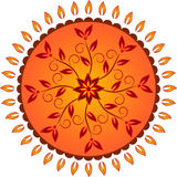 Yellow and Orange Flower Sun Decorative Vector Royalty Free Stock Photos