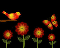 Yellow and Orange Flowers and Bird PowerPoint Background Royalty Free Stock Photography