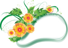 Yellow and orange flowers frame Royalty Free Stock Photo